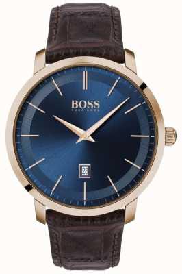 Boss | classico da uomo premium | cinturino in pelle marrone | quadrante blu | 1513745