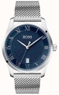 Boss | maestro maschile | bracciale a maglie in acciaio inossidabile quadrante blu | 1513737