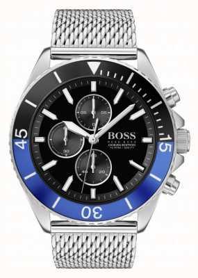 Boss | edizione ocean maschile | bracciale a maglie d'acciaio | quadrante nero | 1513742