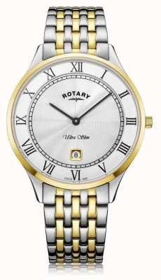 Rotary | ultra slim da uomo | acciaio inossidabile bicolore | quadrante bianco | GB08301/01