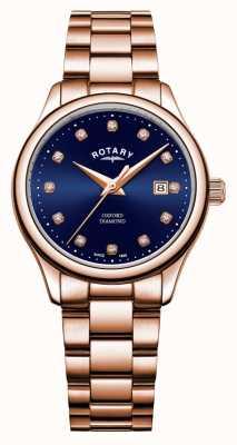 Rotary | oxford femminile | pvd placcato oro rosa | quadrante blu a raggi di sole | LB05096/05/D