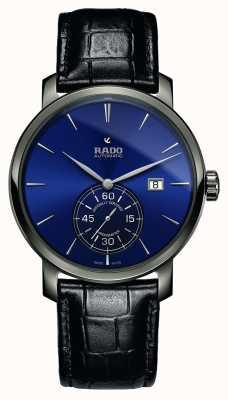 Rado Orologio quadrante xl diamaster petite seconde in pelle nera blu R14053206