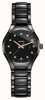 Rado Orologio al quarzo nero in ceramica high-tech al plasma con diamanti veri R27059732