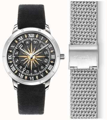 Thomas Sabo | orologio solare da donna | cinturino in velluto nero | quadrante nero 3d SET_WA0351-217-203-33