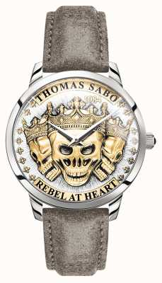Thomas Sabo | teschi 3d di spirito ribelle degli uomini | quadrante oro | cinturino in pelle | WA0356-273-207-42