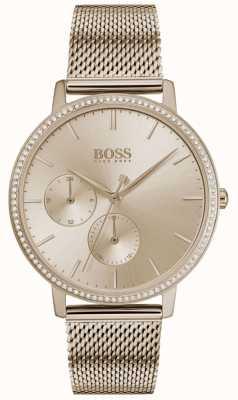 Boss | infinito femminile | maglia in oro rosa | quadrante sunray in oro rosa 1502519