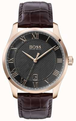 Boss | maestro maschile | cinturino in pelle marrone | quadrante grigio | 1513740