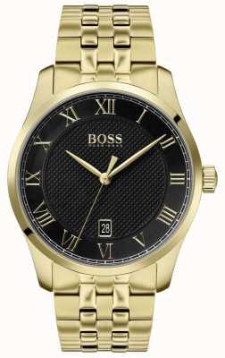 Boss | maestro maschile | bracciale in oro pvd | quadrante nero | 1513739