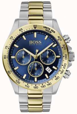 Boss | hero maschile sport lux | bracciale bicolore | quadrante blu | 1513767