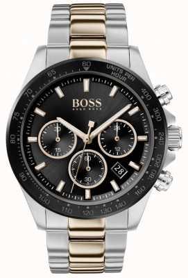 Boss | uomo | hero sport lux | bracciale bicolore | quadrante nero | 1513757