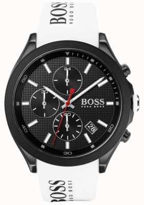 BOSS | velocità maschile | cinturino in caucciù bianco | quadrante nero | 1513718