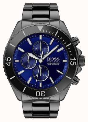 Boss | edizione ocean maschile | acciaio inossidabile nero | quadrante blu | 1513743
