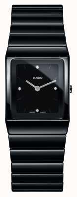 Rado Orologio da polso con quadrante quadrato in ceramica nera e diamanti R21702702