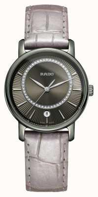 Rado Diamaster diamanti cinturino in pelle grigia quadrante grigio orologio R14064715