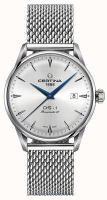Certina | ds-1 powermatic 80 | braccialetto a maglie d'argento | quadrante argentato | C0298071103102