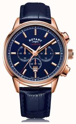 Rotary | cronografo da uomo cambridge | quadrante blu | pelle blu | GS05399/05