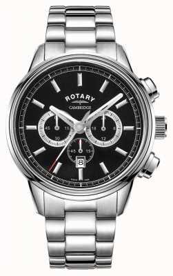 Rotary | cronografo da uomo cambridge | quadrante nero | acciaio inossidabile GB05395/04