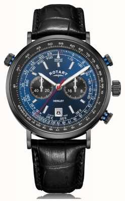 Rotary | cronografo da uomo henley | quadrante blu | cinturino in pelle nera GS05238/05