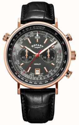 Rotary | cronografo da uomo henley | quadrante grigio | pelle nera | GS05237/20