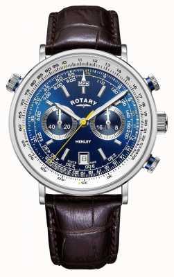 Rotary | cronografo henley da uomo | quadrante blu | cinturino in pelle marrone GS05235/05