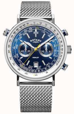 Rotary | cronografo da uomo henley | bracciale a maglie d'acciaio | quadrante blu GB05235/05