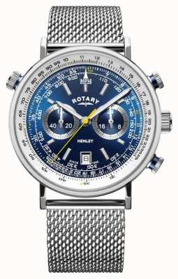 Rotary   cronografo da uomo henley   bracciale a maglie d'acciaio   quadrante blu GB05235/05