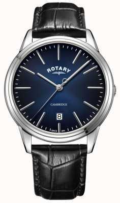 Rotary | cambridge maschile | quadrante blu | cinturino in pelle nera | GS05390/05