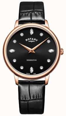 Rotary | kensington da donna | quadrante nero cristallo swarovski | LS05174/04