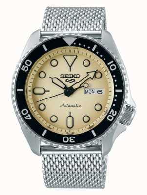 Seiko 5 sport | abiti | automatico | quadrante champagne | maglia d'acciaio SRPD67K1