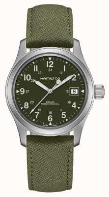 Hamilton | campo cachi | ufficiale meccanico | cinturino in tela verde | H69439363