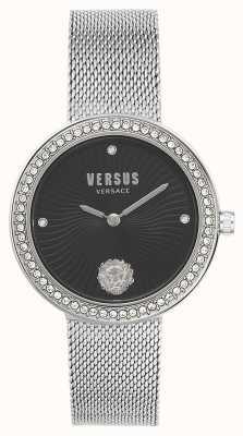 Versus Versace | léa femminile | braccialetto a maglie d'argento | quadrante nero | VSPEN0719