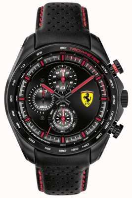 Scuderia Ferrari | pilota di velocità maschile | cinturino in pelle nera | quadrante nero | 0830647