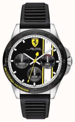 Scuderia Ferrari | pilota maschile | cinturino in caucciù nero | quadrante cronografo nero 0830659