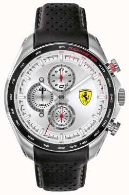 Scuderia Ferrari | pilota di velocità maschile | cinturino in pelle nera | quadrante argentato | 0830651