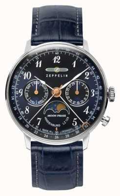 Zeppelin Lz129 hindenburg quarzo giorno / data orologio quadrante blu fasi lunari 7037-3