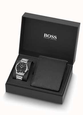 Boss | uomo | set orologio e portafoglio in pelle nera | 1570093