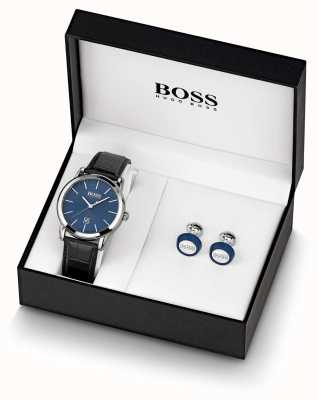 Boss | uomo | set orologio e gemelli blu | 1570092