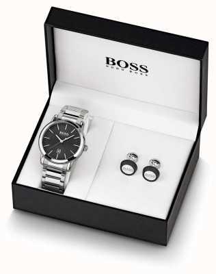 Boss | uomo | orologio nero e set di gemelli | 1570091