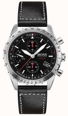 Boss | aero | cronografo nero | cinturino in pelle nera | 1513770