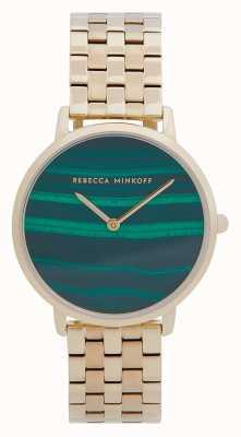Rebecca Minkoff Maggiore femminile | bracciale in acciaio placcato oro | quadrante in malachite 2200373