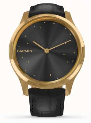 Garmin Vivomove 3 luxe | Custodia in pvd oro 24ct | pelle italiana nera 010-02241-02