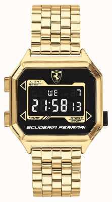 Scuderia Ferrari | digidrive maschile | braccialetto placcato oro | quadrante nero | 0830705