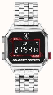 Scuderia Ferrari | digidrive maschile | bracciale in acciaio inossidabile quadrante nero | 0830703