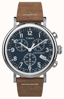 Timex | cronografo standard 41mm | cinturino in pelle marrone | quadrante blu | TW2T68900