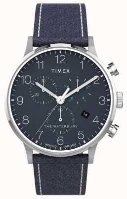 Timex | waterbury classic chrono 40mm | pelle blu | quadrante blu | TW2T71300