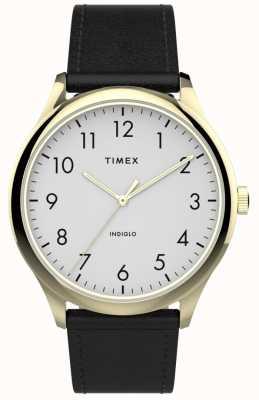 Timex | lettore facile 40mm | cinturino in pelle nera | quadrante bianco | TW2T71700