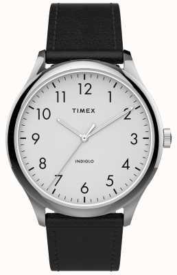 Timex | lettore facile 40mm | cinturino in pelle nera | quadrante bianco | TW2T71800