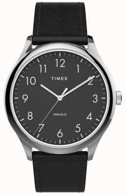 Timex | lettore facile 40mm | cinturino in pelle nera | quadrante nero | TW2T71900