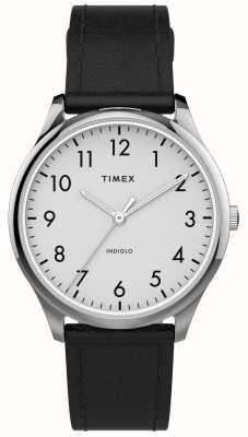 Timex | lettore facile 32mm | cinturino in pelle nera | quadrante bianco | TW2T72100
