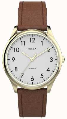 Timex | lettore facile 32mm | cinturino in pelle marrone chiaro | quadrante bianco | TW2T72300